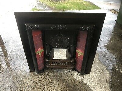 Victorian cast iron Red Tile Fireplace Insert