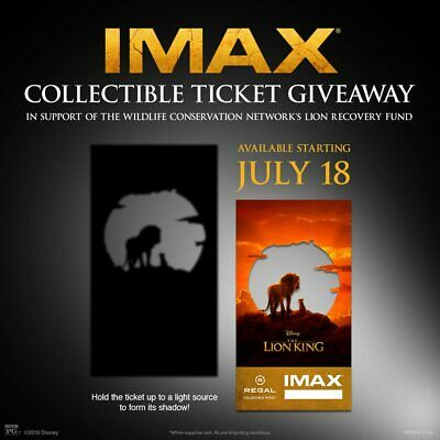 The Lion King IMAX Regal Collectible Ticket ! 2 Out Of 1,000 !