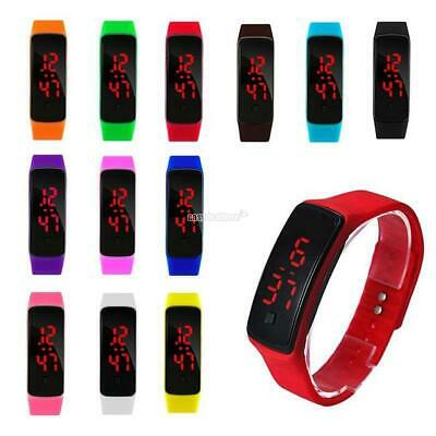 LED Digital Screen Wrist Sport Watch For Men Women Unisex Boys Girls Kids Gift E