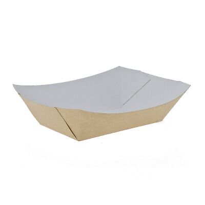 500 x Kraft Food Tray / Chip Tray Recyclable | Catering Supplies