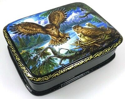 Eulenfamilie - Schatulle Lackdose Fedoskino Russian lacquer box