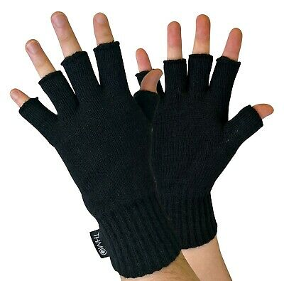 THMO - Mens Black 3M Thinsulate Insulation Fingerless Gloves for Touch Screen