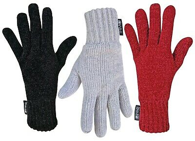 THMO - Ladies Thick Thermal Winter Warm Chenille 3M Thinsulate Lined Gloves
