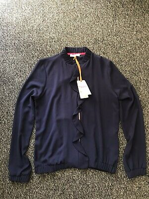 Girls Navy Blue Ted Baker Summer Zip-Up Bomber Jacket Age 14,Look All Photos