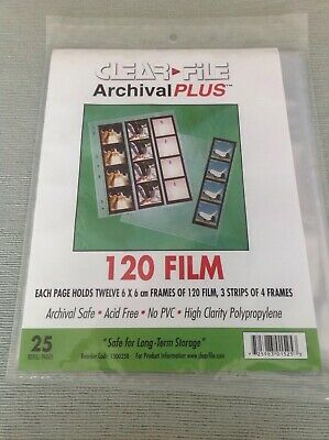 Clear File Negative Storage Pages For 120 Film (6x6)-  Qty 25