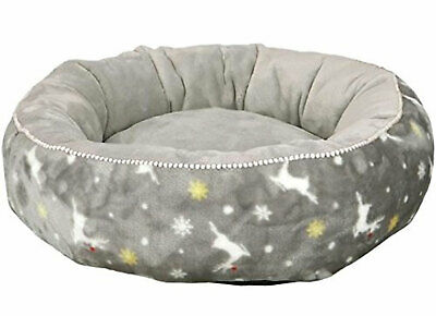 Trixie Christmas Soft Silver Rudolph Bed For Cats & Small Dogs 50cm
