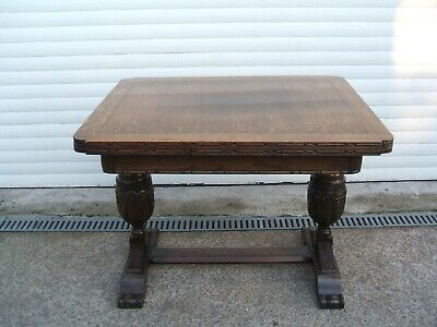 Antique Farmhouse  Refectory Oak Draw Leaf Table