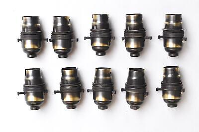 Set of 10 UK made antique brass switched B22 bayonet bulb holder 10mm entry AB1