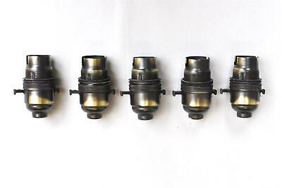 A set of 5 UK made antique brass switched B22 bayonet bulb holder 10mm entry AB1