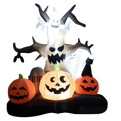 10' Halloween Airblown Inflatable Dead Tree w/ Ghost Pumpkins Yard Outdoor Decor