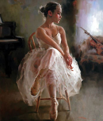 CHENPAT328 violin girl Sitting on chair art hand-painted oil painting on canvas