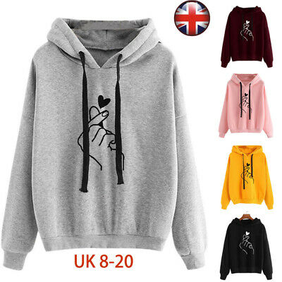Womens Baggy Hooded Hoodies Autumn Sweatshirt Pullover Tops Ladies Coat Outwear