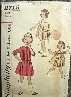 Vintage 1958 Simplicity Girl's Pleated Dress 2 Style Sleeves Pattern #2715 Sz 6