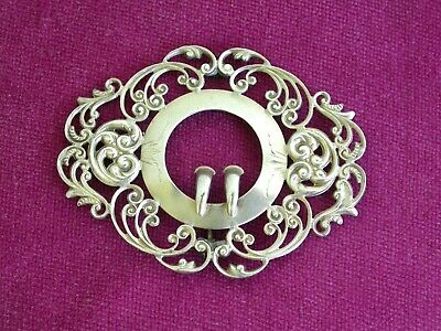 Gorgeous Antique Victorian Sterling Silver Ornate Buckle Brooch      L2826