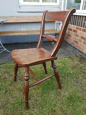 Antique Victorian Kitchen/Scullery Chair Solid Wood in Original Good Condition