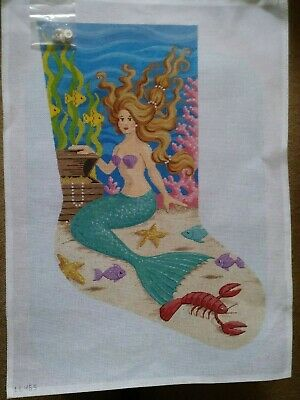 Needlepoint Mermaid Christmas Stocking Canvas.  LL465. 14-Mesh Canvas