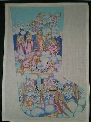 Needlepoint Canvas Christmas Stocking with Angels. 18-mesh Canvas.