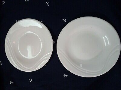 2 Pcs Arc France Arcopal Milk Glass Saucers or small plates