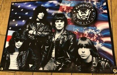 The Ramones leather jacket band canvas poster concert banner american flag