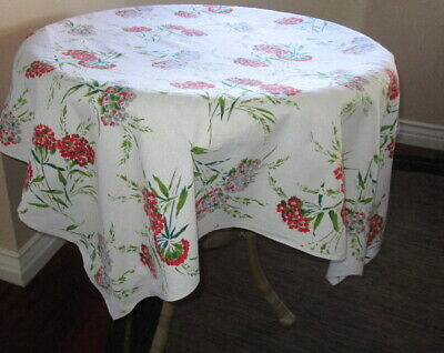 Vintage 1940s FLORAL TABLECLOTH ~ bunches of red & grey flowers on white ~ 50x45