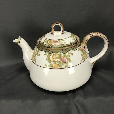 Nippon Hand Painted Floral Teapot Green Tan Pink Moriage Beading