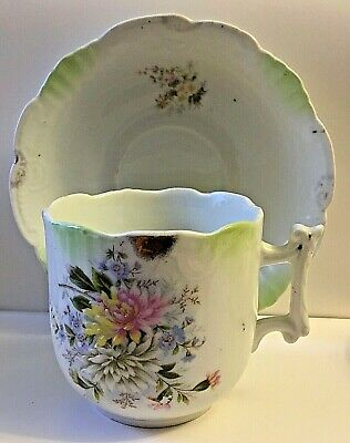 Antique Victorian Shaving Cup / Mustache Cup And Saucer * Porcelain