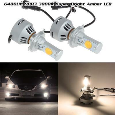 400W 9003 HB2 128000LM High Dual Beam LED Projector Headlamp 3000K Amber Cree