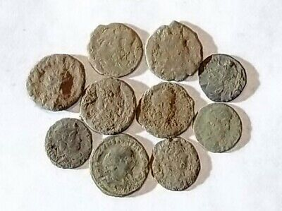 10 ANCIENT ROMAN COINS AE3 - Uncleaned and As Found! - Unique Lot 21727