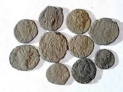 10 ANCIENT ROMAN COINS AE3 - Uncleaned and As Found! - Unique Lot 21729