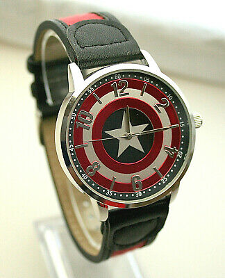Marvel Comics Captain America Shield Dress Watch Men's New NOS Box 2 Tone Strap