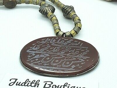 Islamic Arabic  Amulet Calligraphy Agate and  Silver  Pendant Cord Necklace