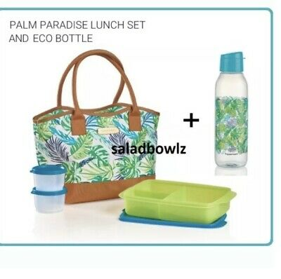 TUPPERWARE New PALM PARADISE LUNCH SET and ECO BOTTLE Lunch-It Large & Snack Cup