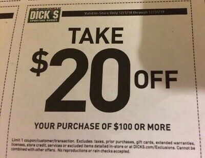 Dick's Sporting Goods $20 off $100 Coupon EXP 12/31/19 In-stor