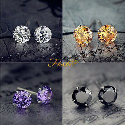 925 Sterling Silver Classic Crystal Lab Diamond Cutting Stud Earrings