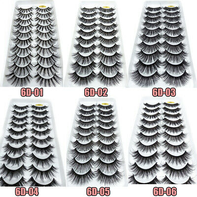 SKONHED 10Pairs 6D Mink Hair False Eyelashes Full Volume Thick Wispies Fluffy.