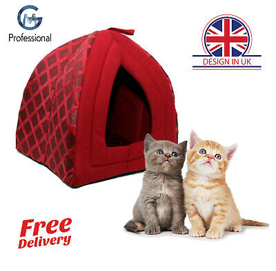 Pet House Igloo Padded Fleece Cave Bed For Dog Cat Puppies Washable Foldable Red
