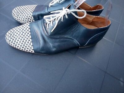 Nueva Epoca Mens dance shoes  navy blue white leather size 7.5 strictly