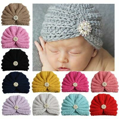 Kawaii Bow Baby Hat Knitted Beanies Kids Toddler Candy Turban Cap Autumn Winter