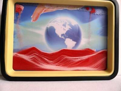 Red Moving Sand Picture  Earth Mirror Relaxing Desk Home Decor Gift Birthday.