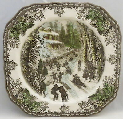 Johnson Brothers Friendly Village, Square Accent Salad Plate (Skating/Sled)