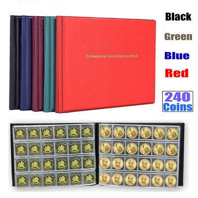 240 Album Coin Penny Money Storage Book Case Folder Holder Collection UK