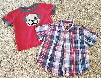 Boys 6-12 month lot: Crazy 8 red t-shirt & Old Navy red/blue plaid button shirt