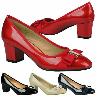 Cherie Womens Low Mid Heels Bow Detail Slip On Ladies Court Shoes Pumps Size New