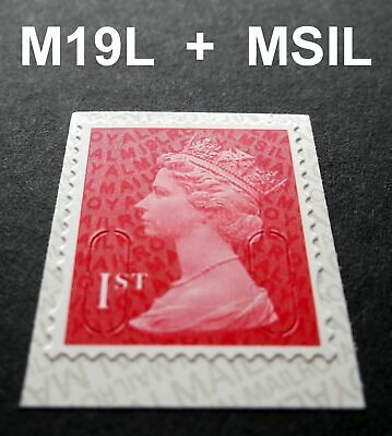 NEW AUG 2019 1st Class M19L + MSIL MACHIN SINGLE STAMP from Booklet