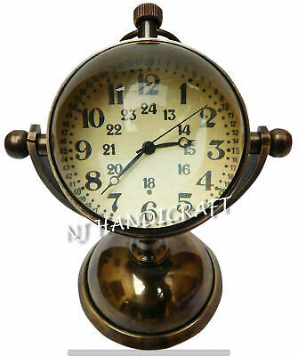 Brass Antique Desk Clock Nautical Clocks Watch With Back Side Compass design