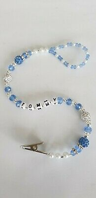 Personalised baby boys bling dummy clip pearl and Crystal Shamballa Romany