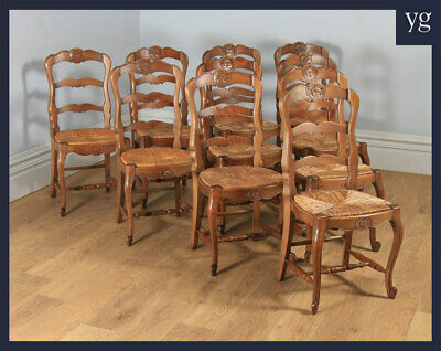 Antique 10 Ten French Louis Style Oak Ladder Back Rush Kitchen Dining Chairs