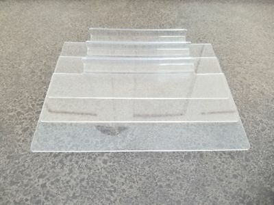 "Store Display Fixtures * Acrylic SLATWALL SHELVES 8"" Long x 4"" Deep * Lot of 3"
