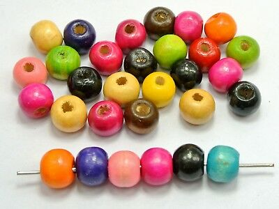 """200 Mixed Color 10mm (3/8"""") Round Wood Beads~Wooden Beads Jewellery Making"""