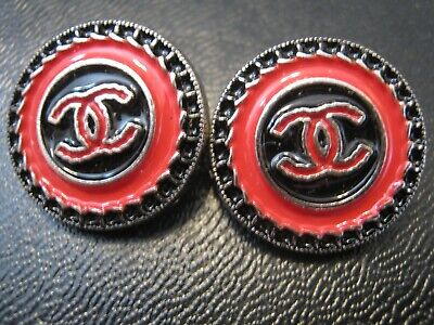 CHANEL LOT OF 2 pretty BUTTONS RED black SILVER 18mm ,  3/4 inch metal cc logo